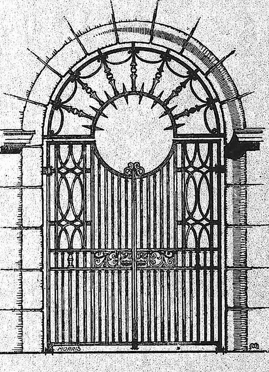 a 1907 metal gate with a spiked speaking opening illustrated