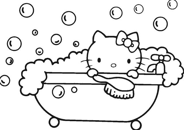 Berikut Gambar Sketsa Hitam Putih Mewarnai Hello Kitty Terbaru