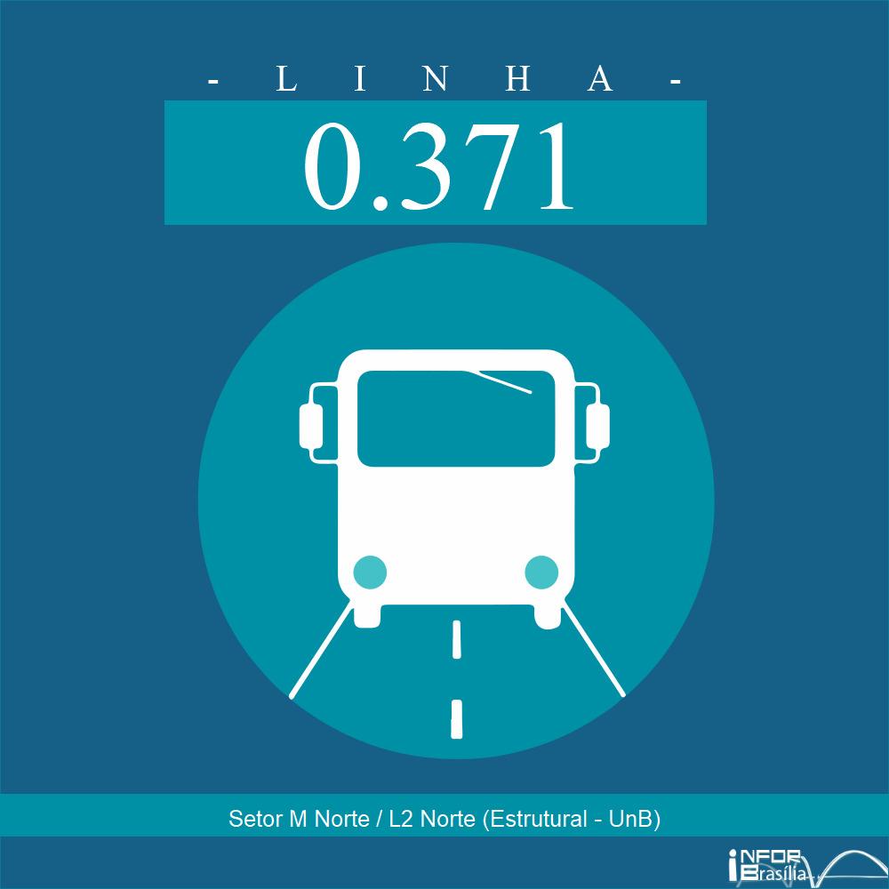 """Horário e Itinerário 0.371 - Setor """"M"""" Norte/L2 Norte (UnB-Estrutural)"""