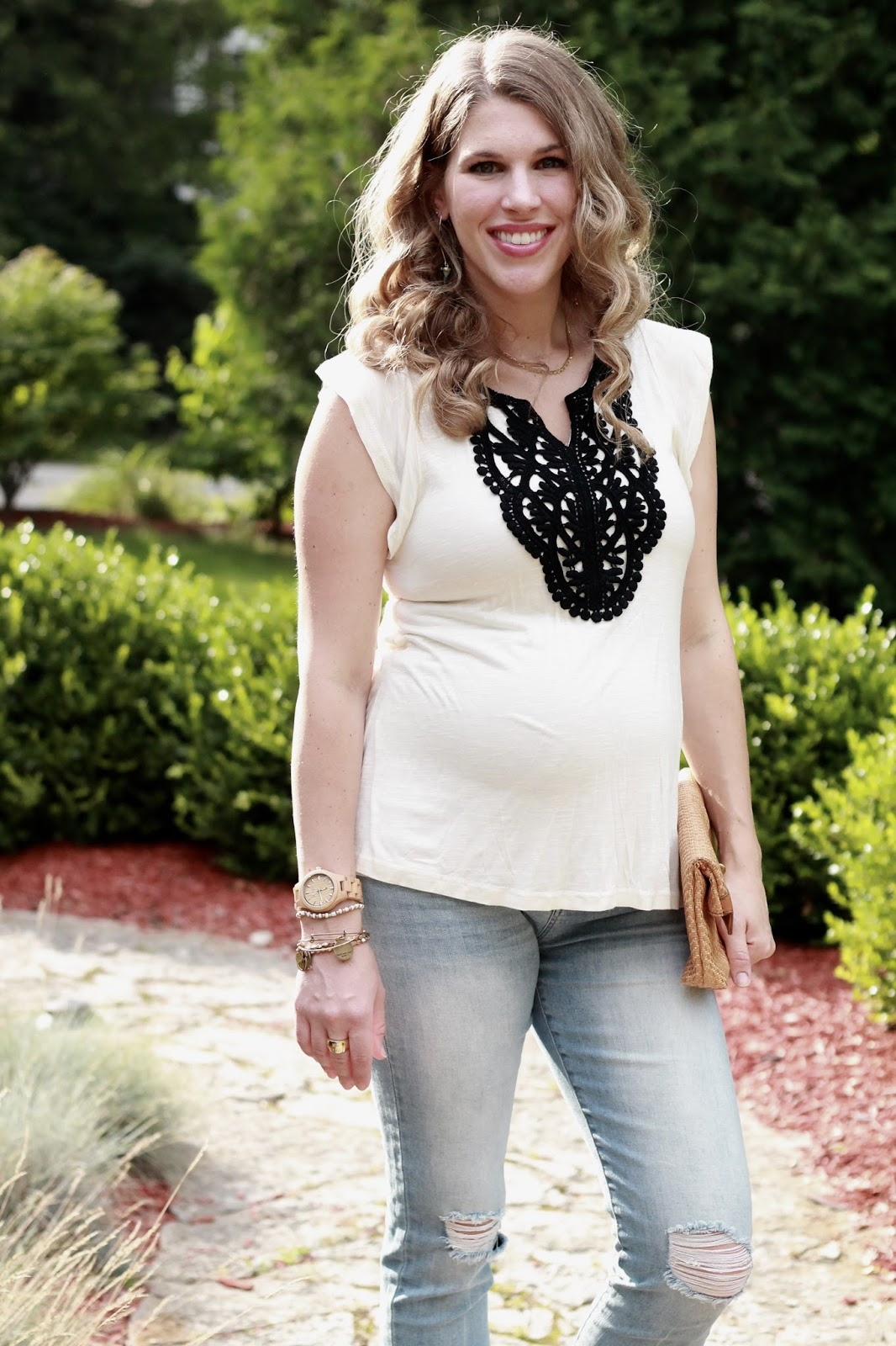 white embroidered tee, pinkblush distressed maternity jeans, Steve Madden wedges, straw clutch