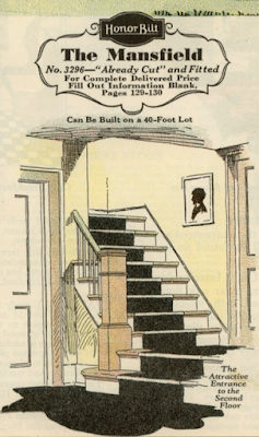 staircase of Sears Mansfield as shown in Sears Modern Homes catalog
