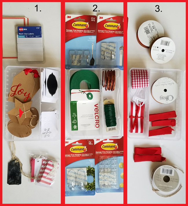 cards, labels, tags, command hooks, wire, ribbons, velcro are a few of the items you need for Christmas decor