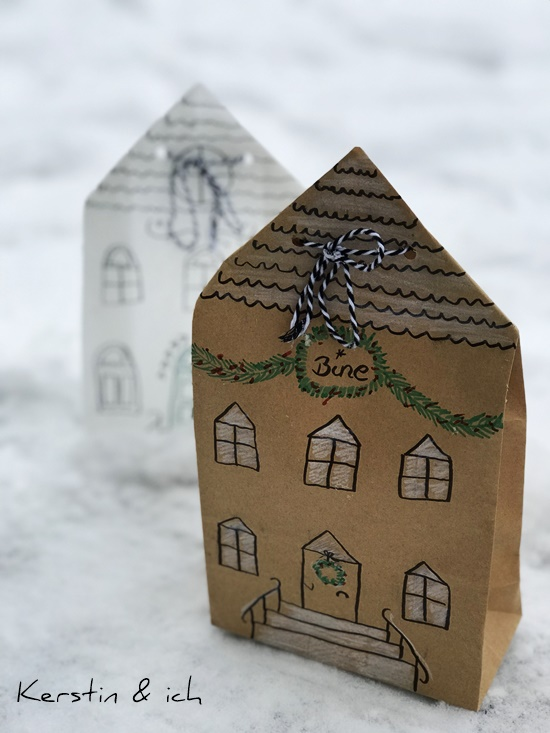 Weihnachten Brottüten Geschenkverpackung Haus