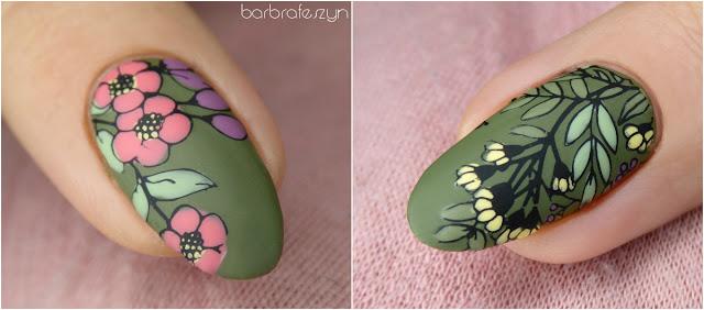 kwiatowa płytka do paznokci