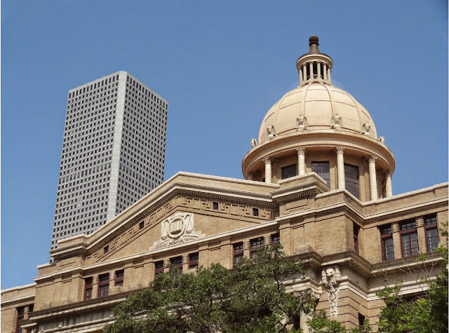 1910 Harris County Courthouse (dome) and Chase Tower