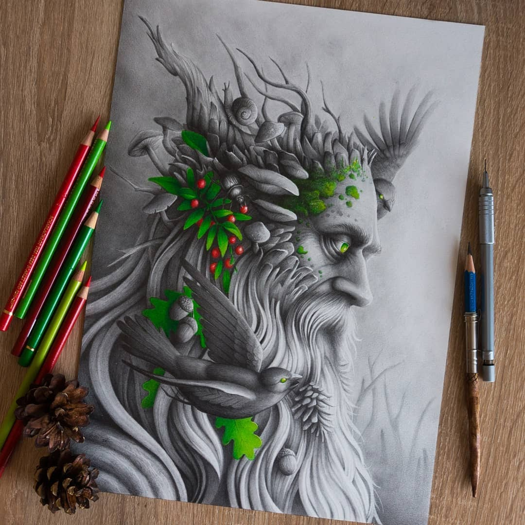 03-Slavic-God-Mythology-Łukasz-Andrzejczak-Fantasy-Art-and-Animals-www-designstack-co