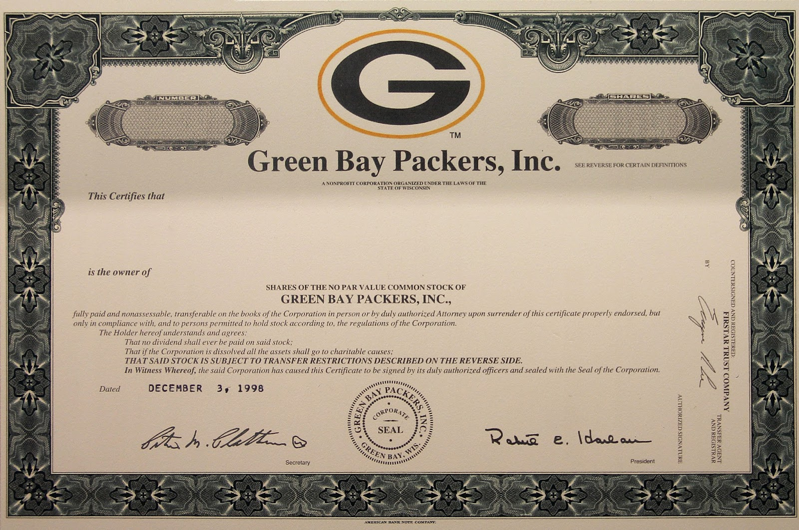 certificate certificates history packer packers bay paper imgflip bears owner chicago early