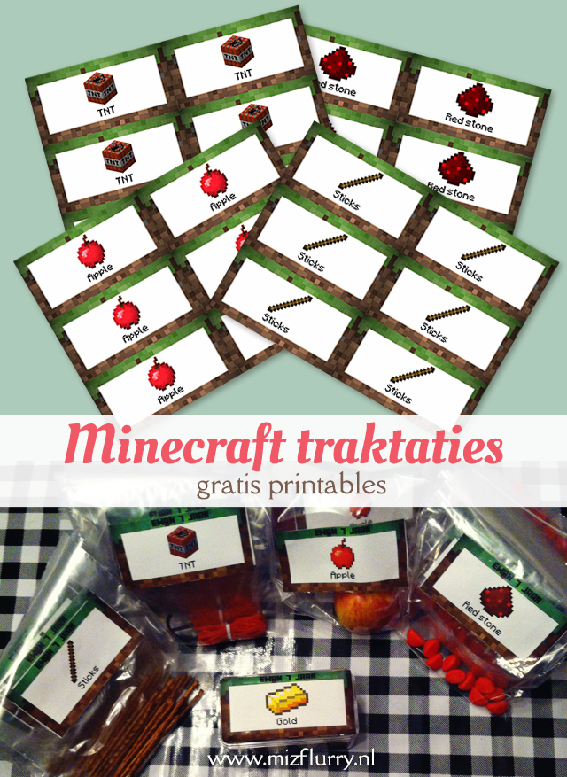 Minecraft traktaties: Makkelijke en leuke Minecraft-traktaties, leuk om bijvoorbeeld uit te delen op school. Met gratis te downloaden labels. | Free printable for Minecraft treats.