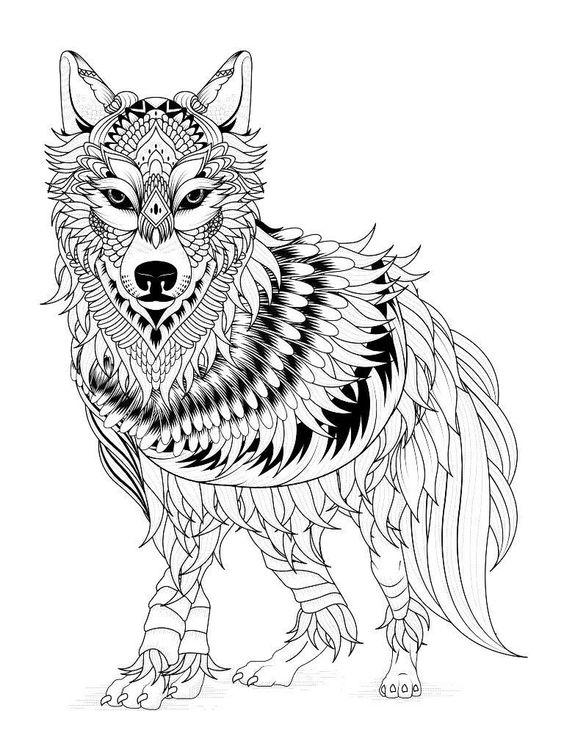 Tranh tô màu con sói có bộ lông trang trí dài và đẹp