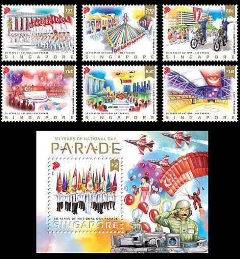 A set of stamps to commemorate 50 years of Singapore's National Day Parade (NDP) will be launched on Monday (8 August 2016).