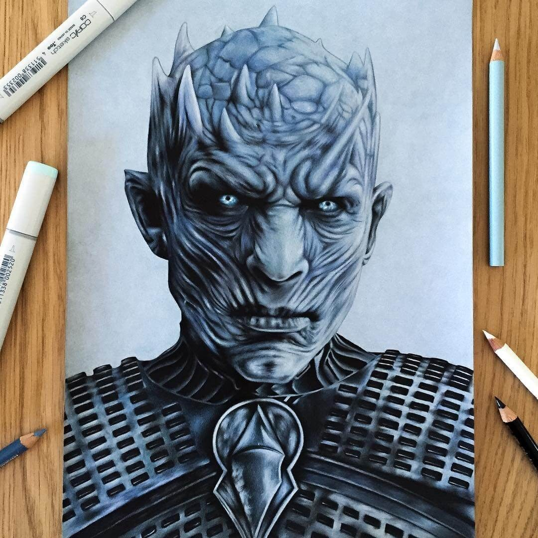 01-White-Walker-GoT-season-8-Stephen-Ward-Movie-and-Comics-Superheroes-and-Villains-Drawings-www-designstack-co