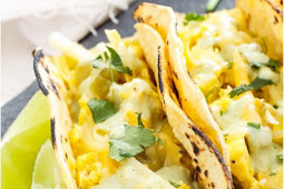 EGG, GREEN CHILE AND CHEESE BREAKFAST TACOS