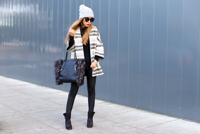 Helene Berman Metallic Stripe Tweed Kimono, Coco Rocha x Botkier Paris Tote, asos pom pom beanie, karen walker super duper sunglasses, black skinny jeans, cat foot wear wedge boots, fashion blog, street style, san francisco