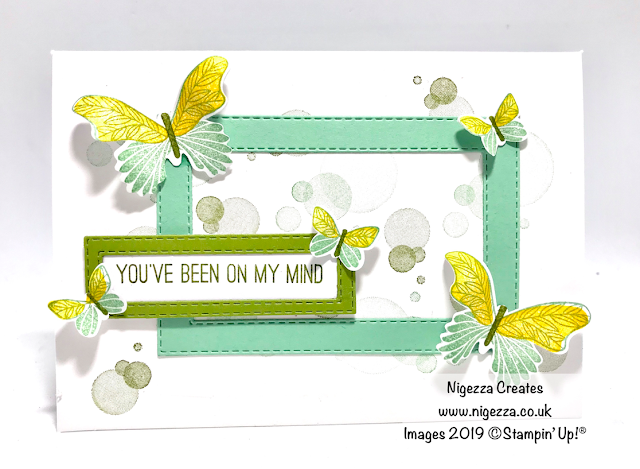 Colour challenge STampin' Up! Mint Macaron, Old Olive and Daffodil Delight, Butterfly Gala, Beauty Abound, Stitched Rectangles