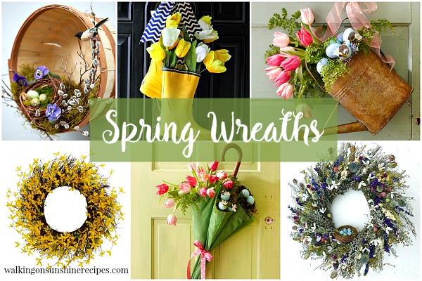 Decorating: Spring Wreaths for the Front Door from Walking on Sunshine