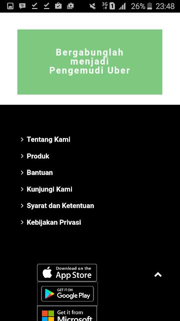 Cara Daftar UBER Driver Motor dan Mobil - Halaman Muka Website Uber Driver Indonesia