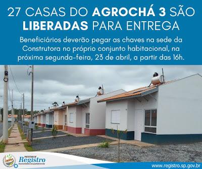 27 Casas do Agrochá 3 em Registro-SP são liberadas para entrega
