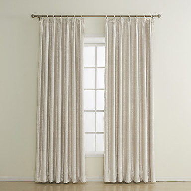 Beige Blackout Curtain Custom Embossed Flame-retardant Window Treatment ( One Panel )