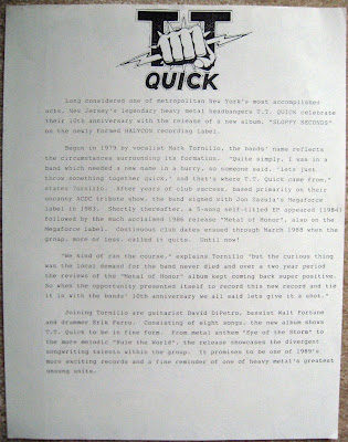 TT Quick press release for the Sloppy Seconds album
