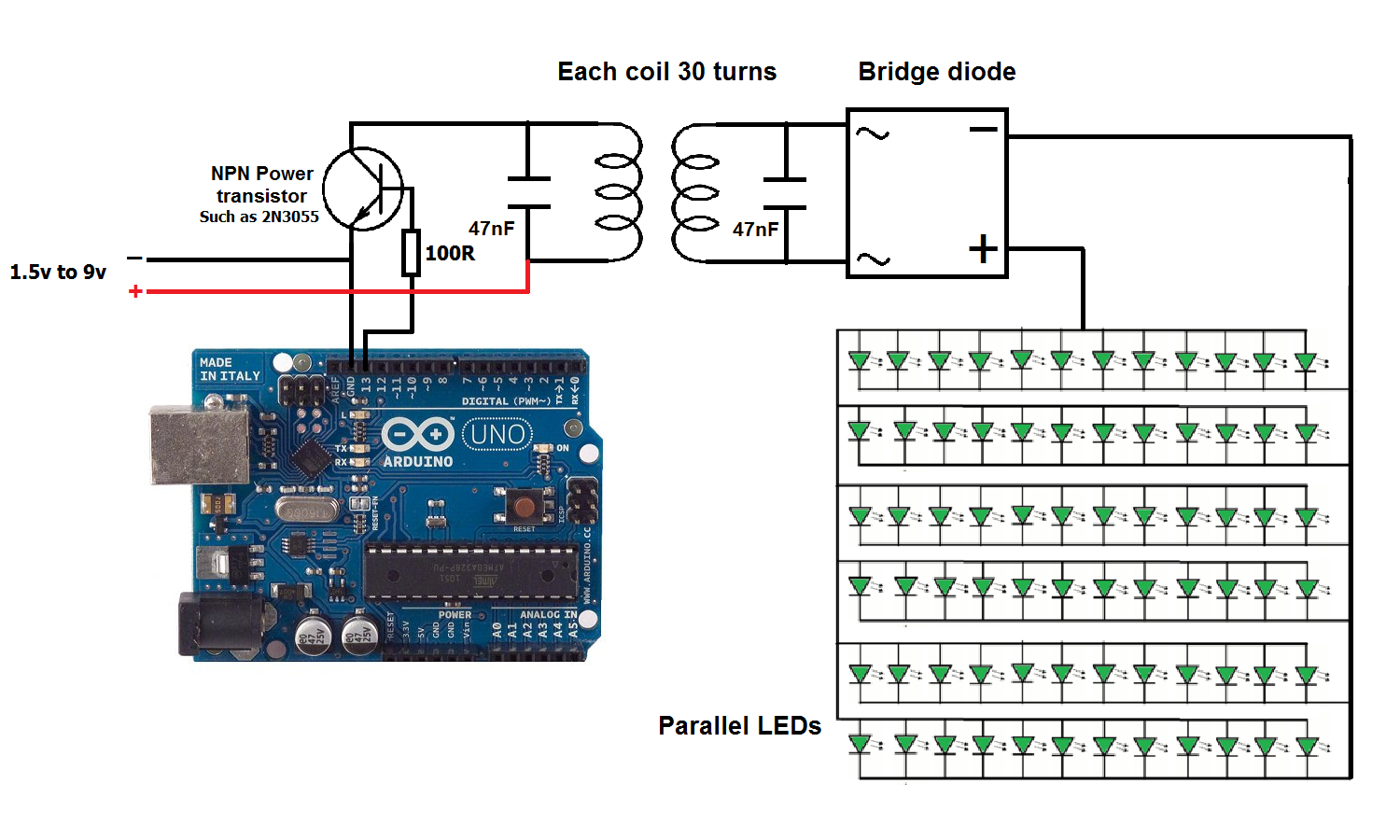 Wireless Power Transmission Using Arduino Uno Simple Projects Transmitter Circuit