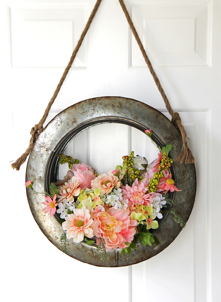 The Craft Patch: Farmhouse Style DIY Spring Tire Wreath ...