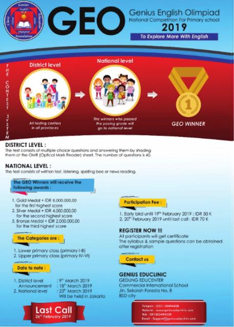 Lomba Genius English Olimpiad Nasional 2019 SD