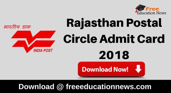 Rajasthan Postal Circle Admit Card