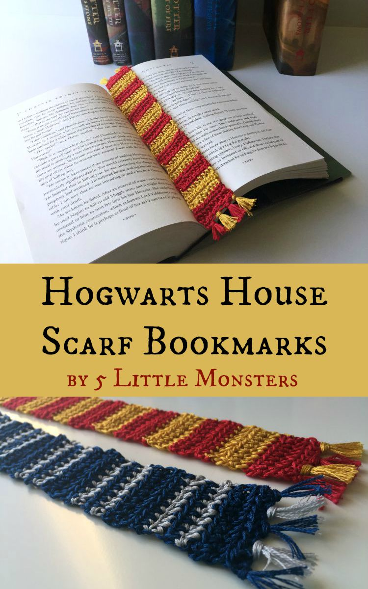Hogwarts House Scarf Crochet Bookmarks