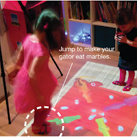 Des enfants qui jouent avec le projecteur interactif Lumo