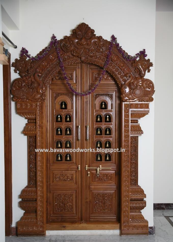 Pooja Room Design For Home: BAVAS WOOD WORKS: Pooja Room Door Frame And Door Designs