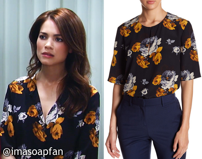 Elizabeth Webber, Rebecca Herbst, Black and Orange Floral Top, Theory, GH, General Hospital