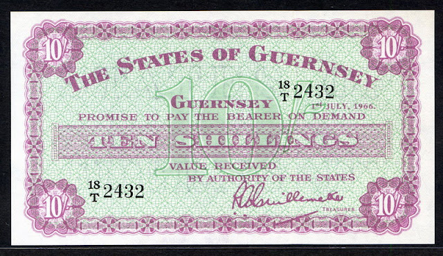 World paper money Guernsey 10 Shillings banknote