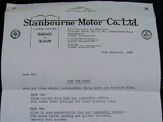 Stanbourne Motor Co Ltd letterehead February 1960