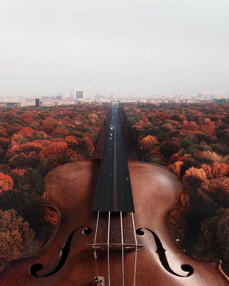 10-Violin-Motorway-Kerem-Ciğerci-Surrealism-in-Manipulated-Photographs-www-designstack-co