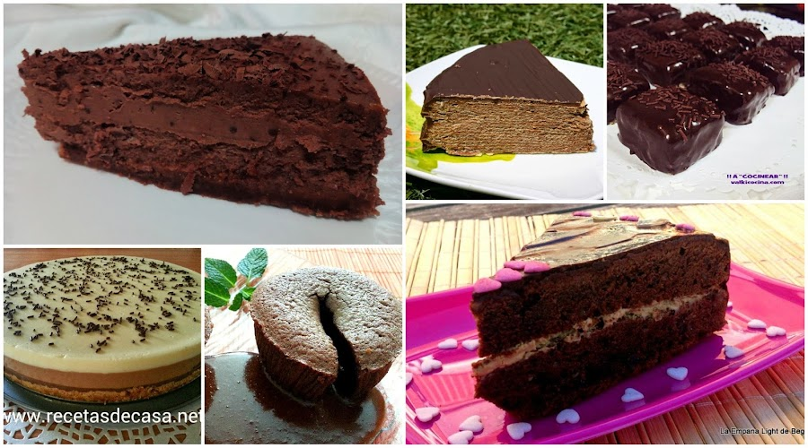 seis tartas de chocolate postres con chocolate