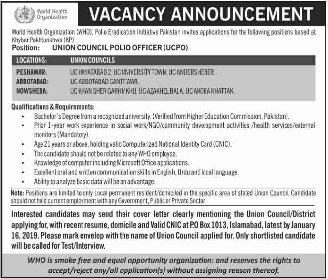 Advertisement for World Health Organization Pakistan Jobs