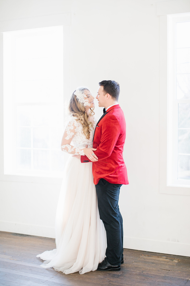 red velvet jacket, gateway bridal, dress rental