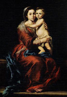 Postal: La Virgen del Rosario Museo del Prado. Editorial Escudo de Oro