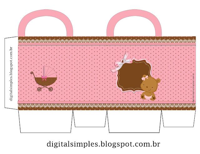 Cajas en forma de bolsa de Osita Bebé para imprimir gratis.