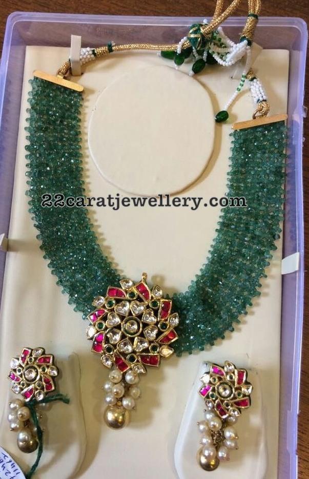 Emerald Crystal Beads Set Kundan Pendant