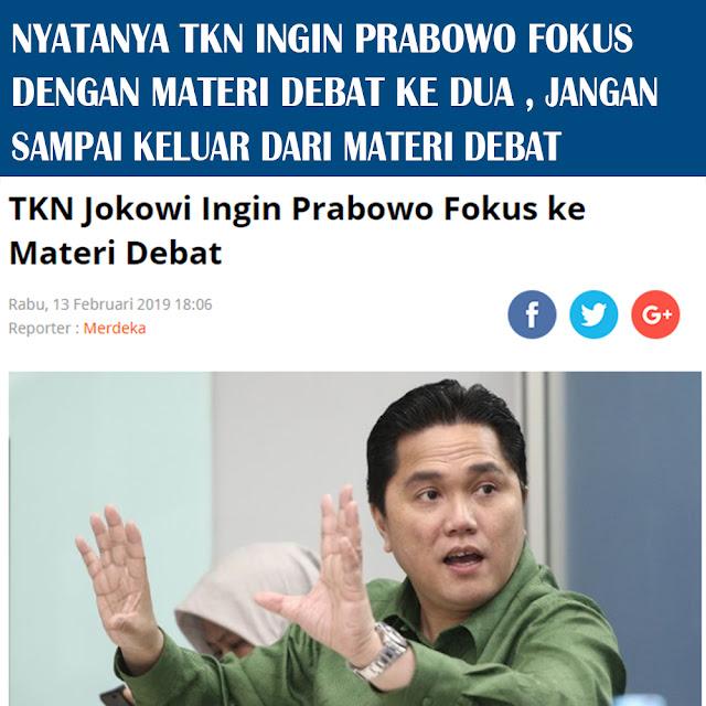 TKN Jokowi ingin Prabowo Fokus ke Materi Debat