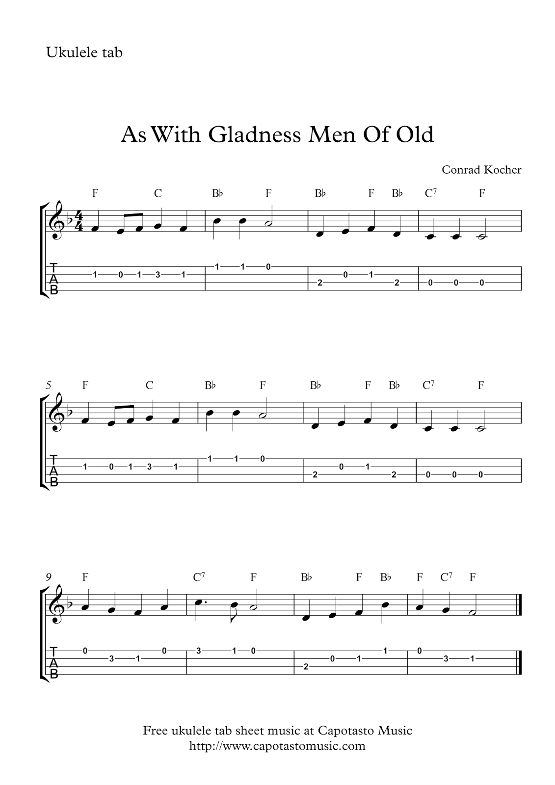 As With Gladness Men Of Old : Free Christmas ukulele tabs