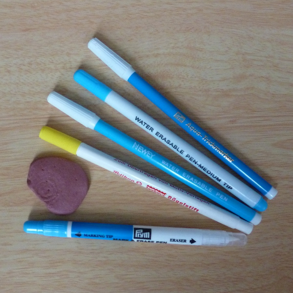 Felt fabric water soluble marking pens and pink Tailors chalk