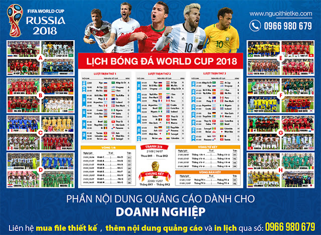 Thiết kế và in lịch World Cup 2018