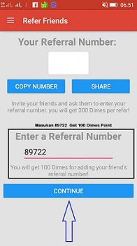 Referral Number Appdimes