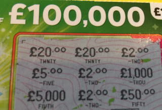 £1 National Lottery Green £100,000 Card