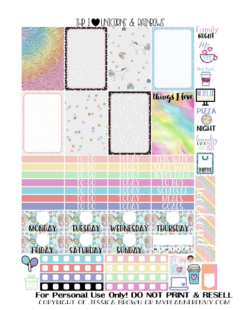 Free Printable I Heart Unicorns & Rainbows Sampler for the Classic Happy Planner from myplannerenvy.com