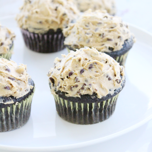 Dark Chocolate Cupcakes with Chocolate Chip Cookie Dough Topping