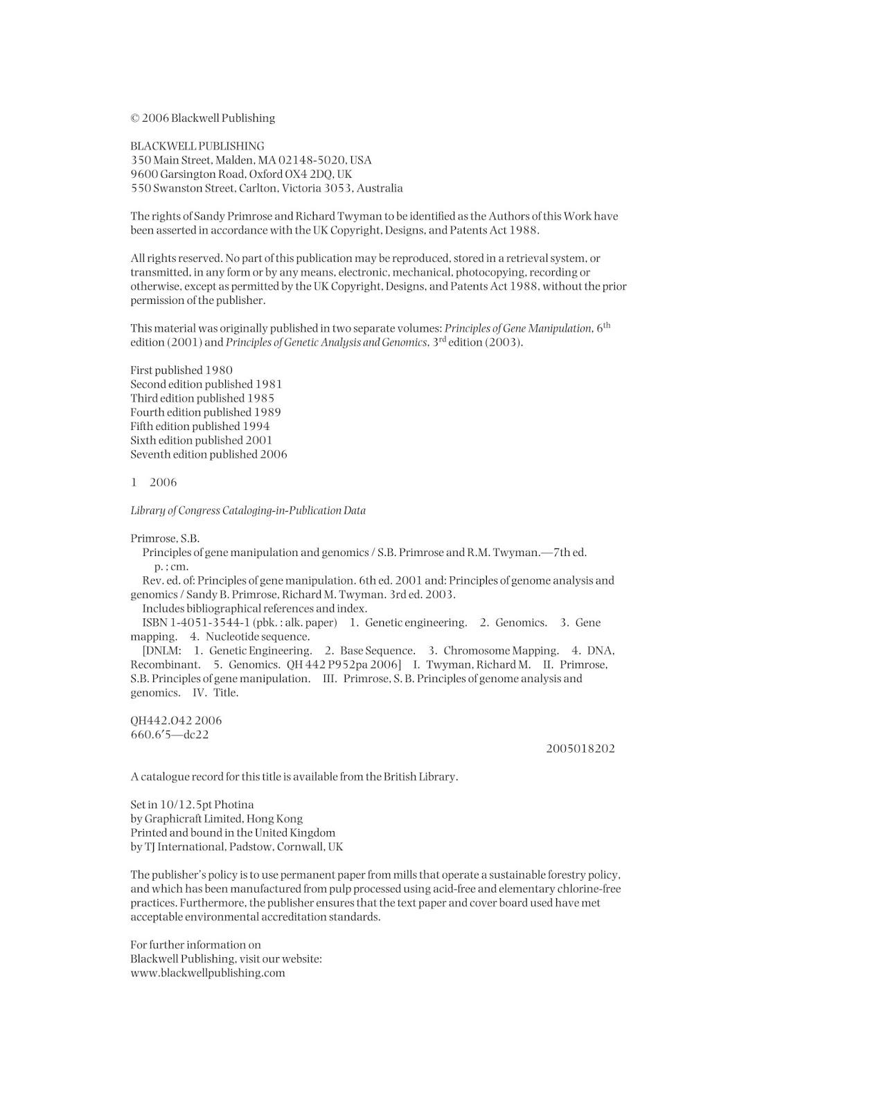 Primrose Gene Manipulation And Genomics Pdf Free Download