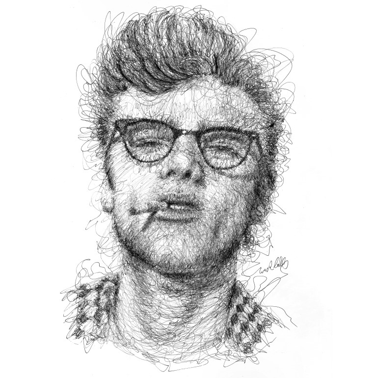 15-James-Dean-Erick-Centeno-Superheroes-Celebrities-and-Cartoons-Scribble-Drawings-www-designstack-co